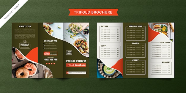 Modello di brochure a tre ante alimentare. brochure di menu fast food per ristorante di colore verde e chiaro.