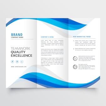 Modello di brochure a tre ante blu business ondulato