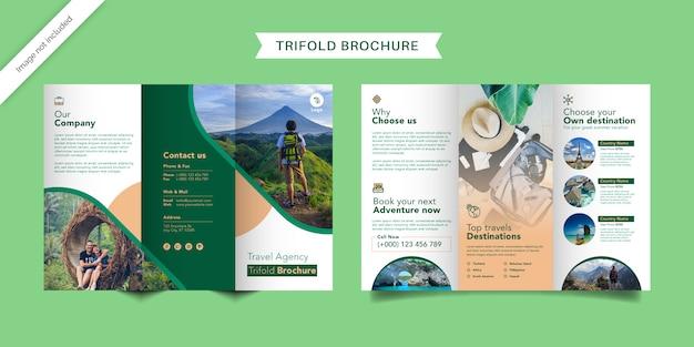 Modello di brochure a tre ante di viaggio
