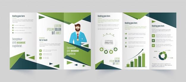 Modello di brochure a tre ante verde e bianco