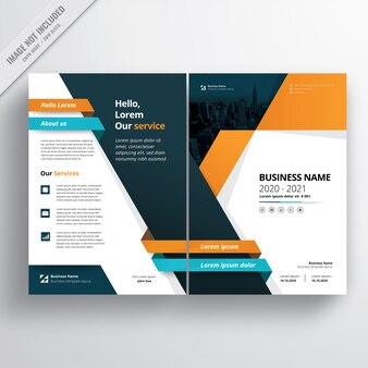 Modello di brochure aziendale blu e arancione.