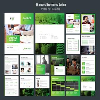 Modello di brochure aziendale di 16 pagine verdi