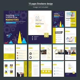 Modello di brochure aziendale di marketing di 16 pagine