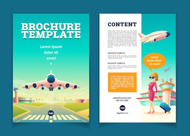Modello di brochure con decollo di aeroplano. concetto di viaggio o turismo, ragazza con bagaglio