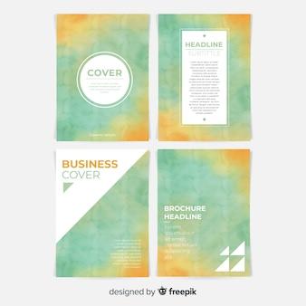 Modello di brochure dell'acquerello di due tonalità