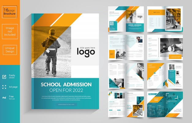 Modello di brochure di ammissione alla scuola