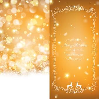 Modello di brochure di natale caldo decorato con bokeh oro ricco e stelle incandescente.