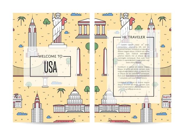 Modello di brochure di viaggio usa impostato in stile lineare