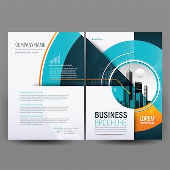 Modello di brochure geometrica aziendale blu e arancione.