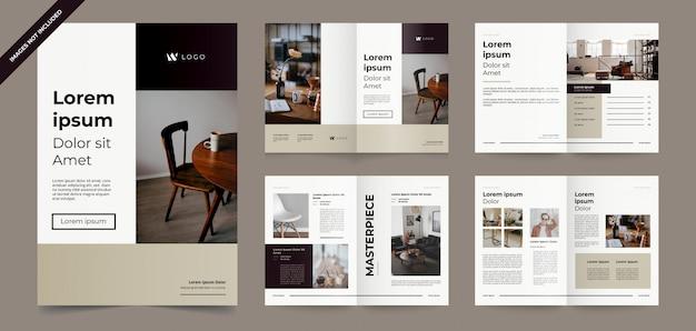 Modello di brochure marrone minimalista