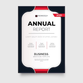 Modello di brochure moderno rapporto annuale con forme rosse