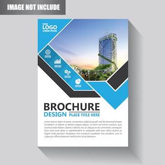 Modello di brochure o disegno del modello di volantino con colore blu e nero