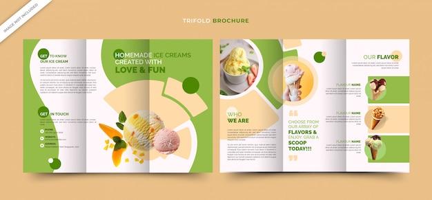 Modello di brochure per frullato a tre ante per gelateria