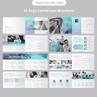 Modello di brochure per il paesaggio di 16 pagine