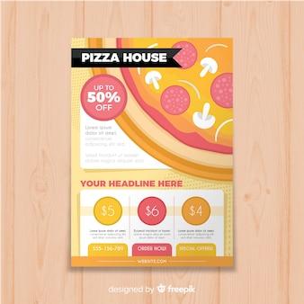 Modello di brochure per pizza piatta