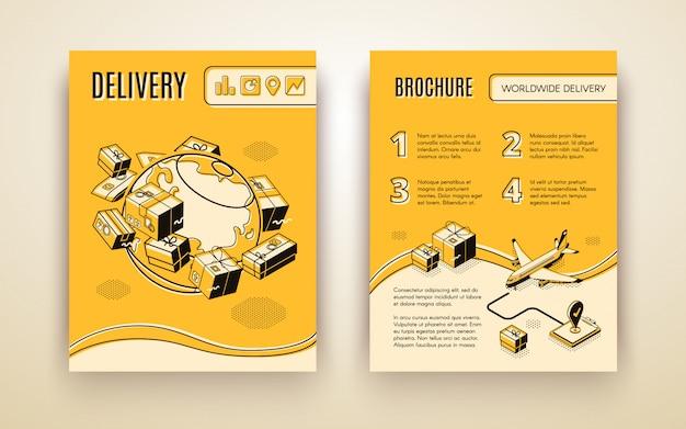 Modello di brochure vettoriale per spedizione in tutto il mondo, consegna aerea