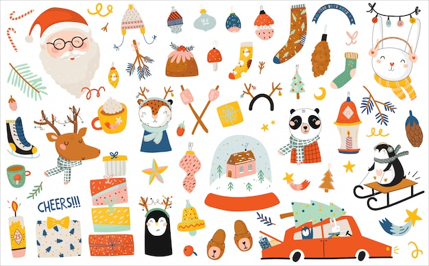 Modello di buon natale o felice nuovo anno 2021 con scritte in festa ed elementi tradizionali invernali.