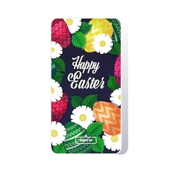 Modello di buona pasqua con uova colorate e fiori vacanze di primavera scritte auguri