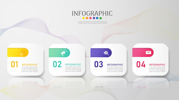Modello di business 4 opzioni o passaggi elemento grafico infografica.