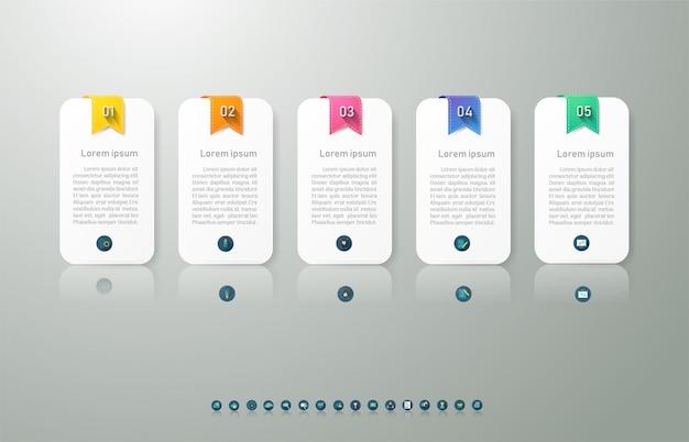 Modello di business 5 opzioni o passaggi elemento grafico infografica.