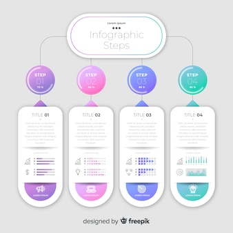 Modello di business colorato passi infografica