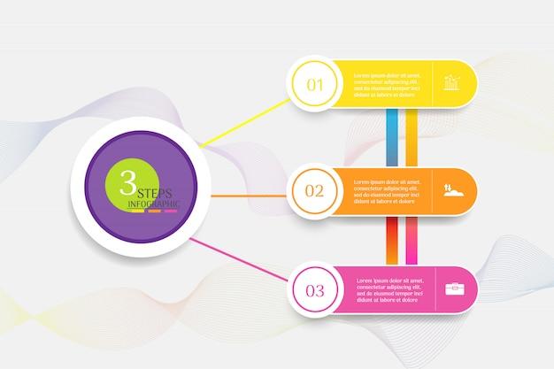 Modello di business design 3 opzioni o passaggi elemento grafico infografica.