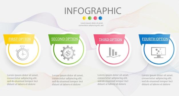 Modello di business design 4 opzioni o passaggi elemento grafico infografica.