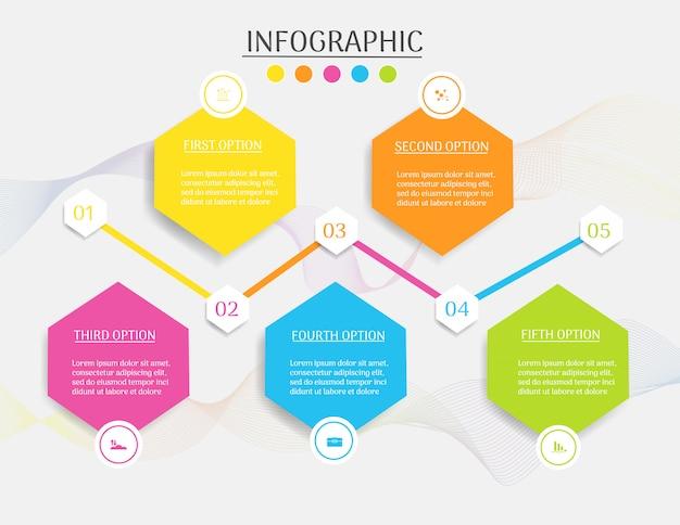 Modello di business design 5 opzioni o passaggi elemento grafico infografica.