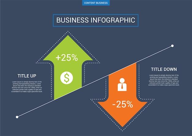 Modello di business di infograhpic con diagramma a freccia