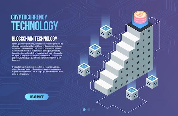 Modello di business di rete blockchain. composizione isometrica in criptovaluta e blockchain. tecnologia di estrazione mineraria. sistema monetario digitale. layout per web e app.