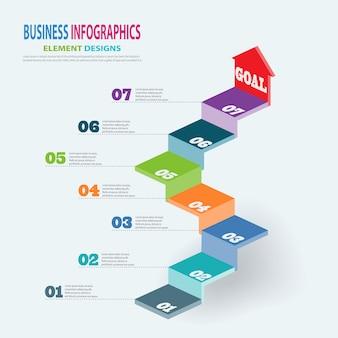 Modello di business infografica 3d scale con i passaggi freccia per presentazione, previsioni di vendita, web design, miglioramento, passo dopo passo