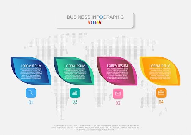 Modello di business infografica. 4 opzioni o passaggi. grafica di informazioni vettoriali.