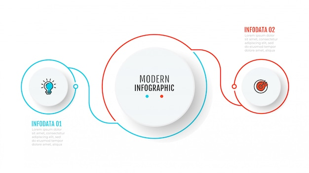 Modello di business infografica con 2 passaggi
