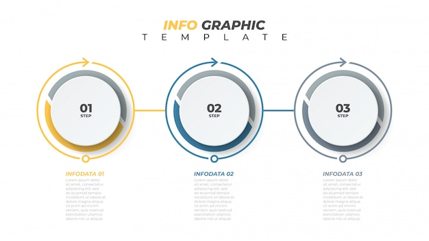 Modello di business infografica con 3 opzioni numeriche, passaggi o processi.