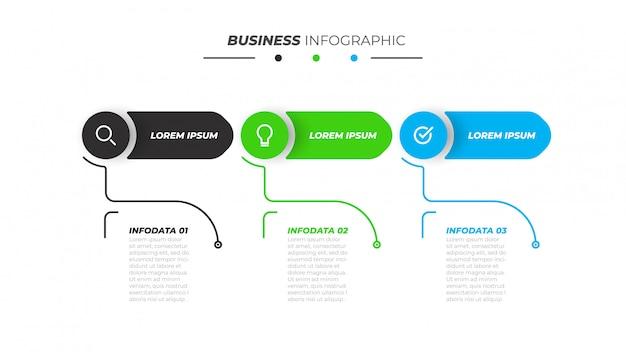 Modello di business infografica con 3 passaggi, opzioni.