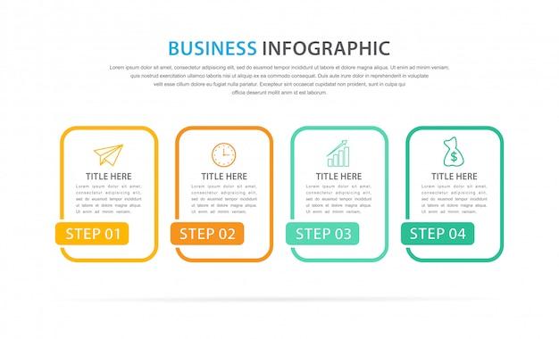 Modello di business infografica con 4 opzioni o passaggio