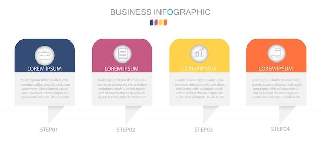 Modello di business infografica con 4 opzioni, passaggi o processi.