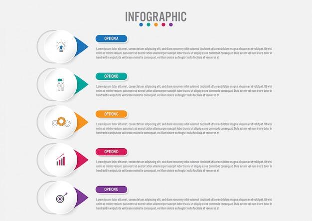 Modello di business infografica con 5 opzioni