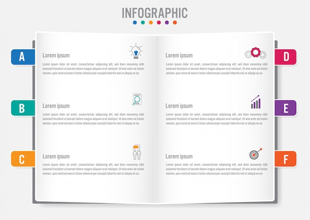 Modello di business infografica con 6 opzioni