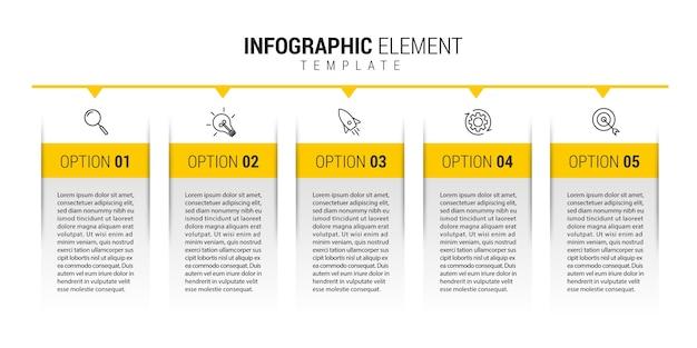 Modello di business infografica con icone e numeri 5 opzioni o passaggi