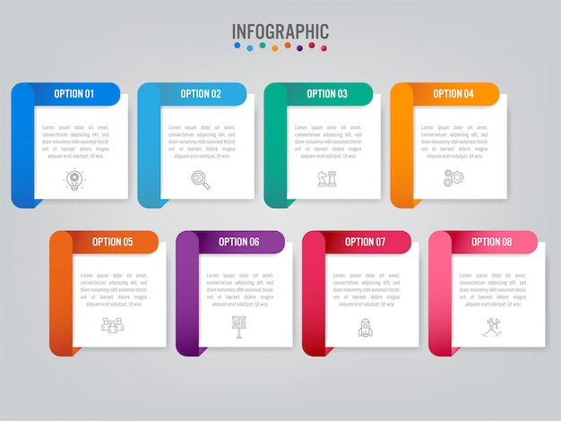 Modello di business infografica con opzioni.