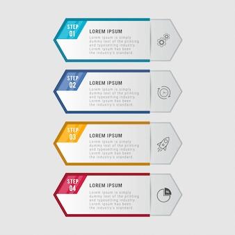 Modello di business infografica. design a linea sottile con numeri 4 opzioni o passaggi.