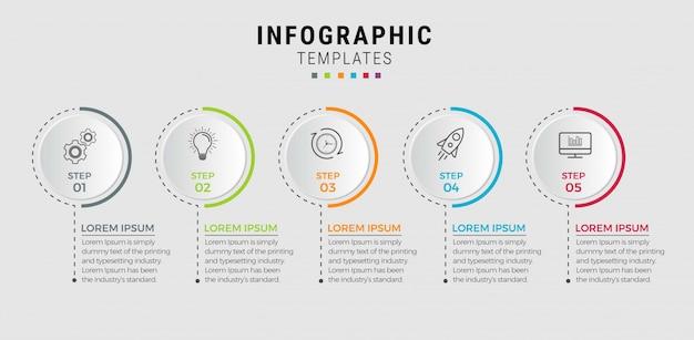 Modello di business infografica. design a linea sottile con numeri 5 opzioni o passaggi.