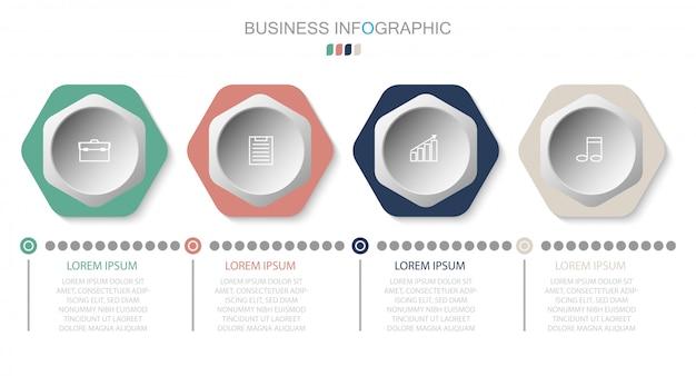 Modello di business infografica. design sottile linea con numeri 4 opzioni o passaggi. elemento di infografica vettoriale