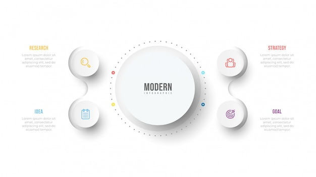 Modello di business infografica. diagramma di processo. design di visualizzazione con cerchi e 4 opzioni o passaggi.