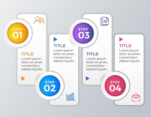 Modello di business infografica in 4 passaggi