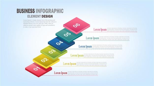 Modello di business infografica passaggi 3d per presentazione, previsione di vendita, web design, miglioramento, passo dopo passo
