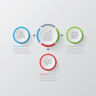 Modello di business infografica presentazione con 3 opzioni.