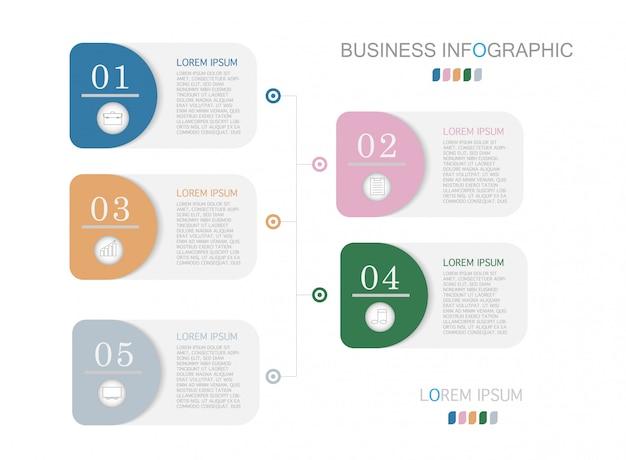 Modello di business infografica presentazione con 5 opzioni.