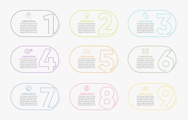 Modello di business infografica presentazione con 9 opzioni.